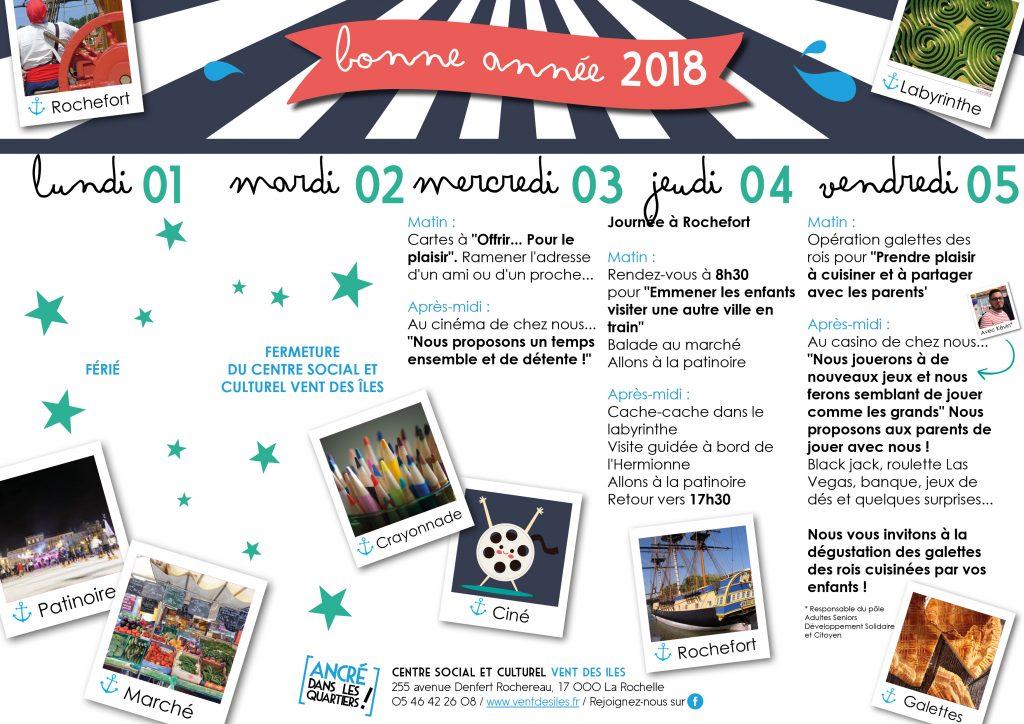 Programme des vacances de début d'année 2018