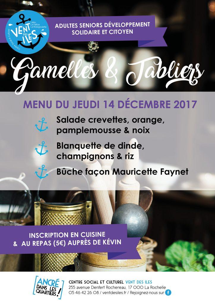 Affiche Gamelles et tabliers du jeudi 14 décembre 2017