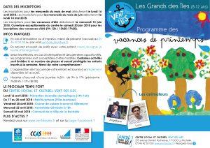 Programme des vacances de printemps 2018, les Grands des Îles