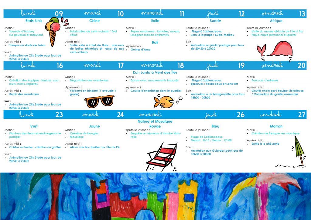 Programmes des vacances de juillet 2018